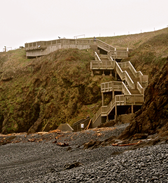 The stairs leading to Cobble Beach