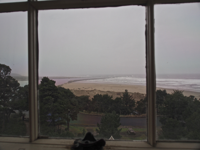 View of Yaquina Bay from inside the Lighthouse