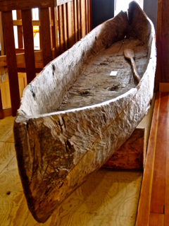 Hand carved wooden canoe